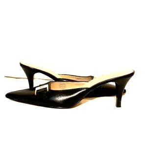 AK Anne Klein Dark Blue Black Kitten Heel Mules 11